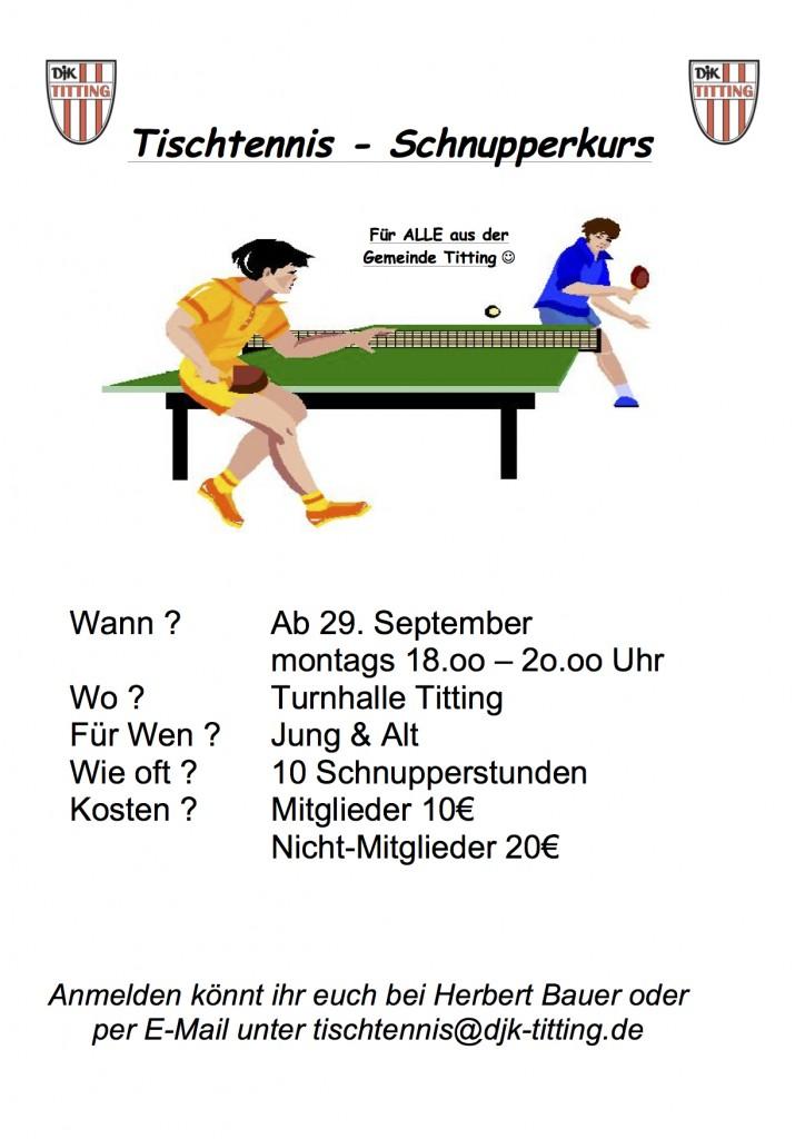 Tischtennis-Schnupperkurs