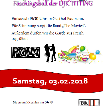 FASCHINGSBALL DER DJK TITTING AM 03.02.2018